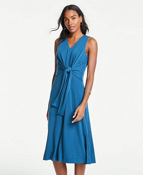 Petite Matte Jersey Sleeveless Tie Front Midi Dress