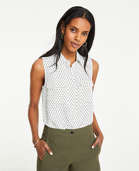 Petite Ikat Dot Sleeveless Camp Shirt