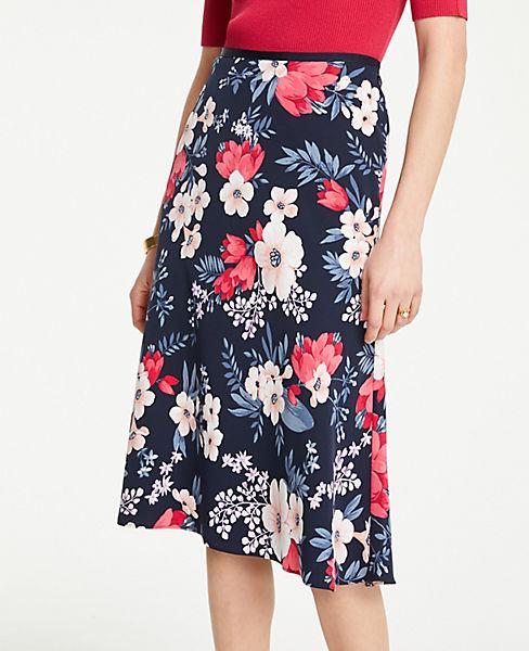 Petite Floral Cluster Flare Skirt