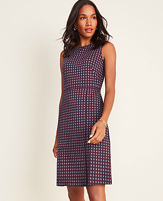 Checked Overlap A-Line Dress