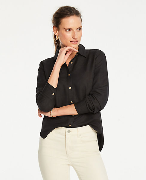 11b4c667 Petite Linen Blend Button Down Shirt | Ann Taylor