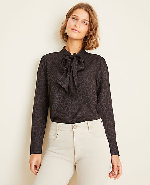 Spotted Bow Neck Blouse