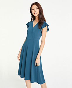 45eec79889b Flutter Sleeve Wrap Dress in Matte Jersey