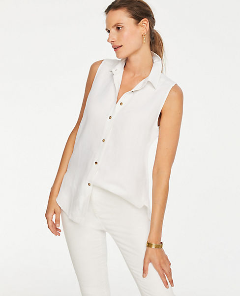ad334fce Petite Linen Blend Sleeveless Button Down Shirt | Ann Taylor