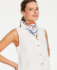 e5c01127 Image 2 of 2 - Petite Linen Blend Sleeveless Button Down Shirt