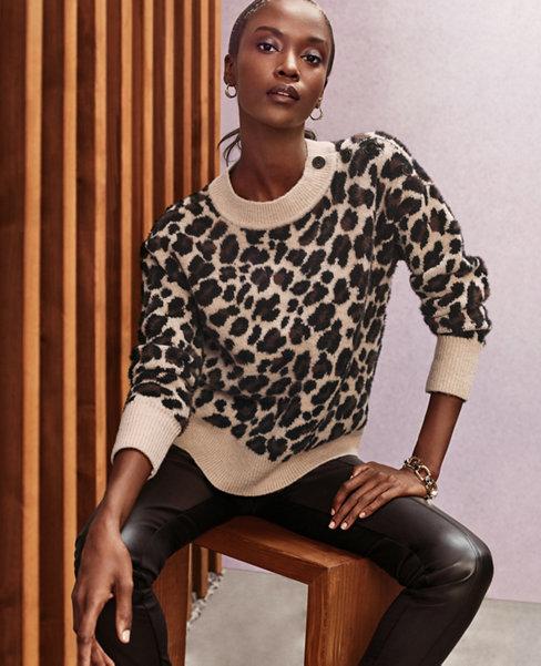 Brushed Leopard Print Shoulder Button Sweater