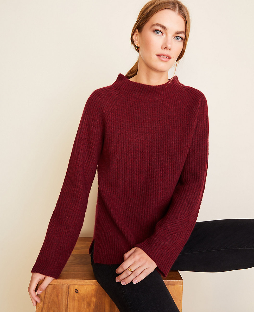 Cashmere Ribbed Mock Neck Sweater | Ann Taylor