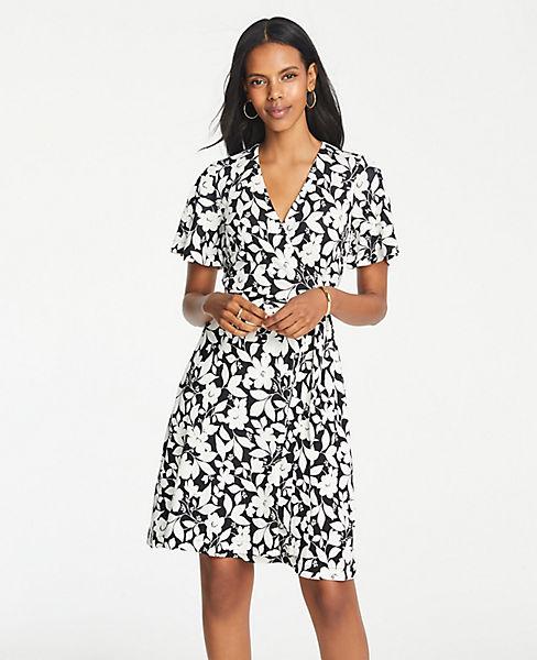 Petite Garden Flutter Sleeve Wrap Dress