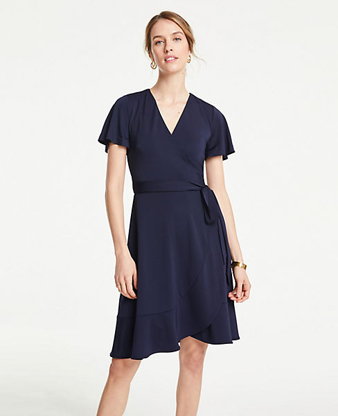 Petite Flutter Sleeve Ruffle Hem Wrap Dress