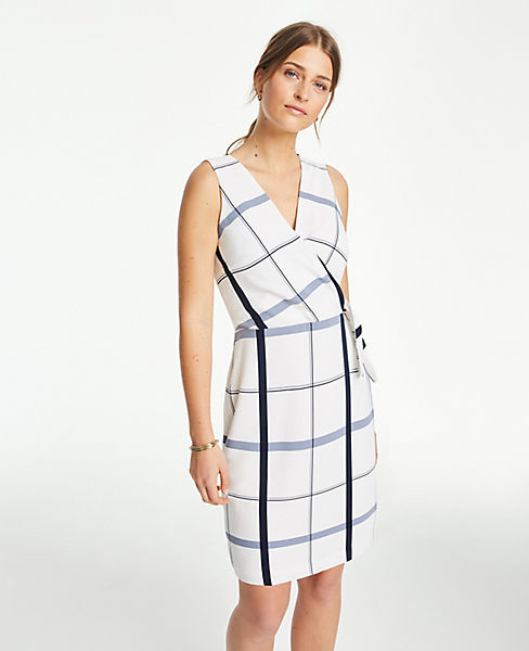 Petite Plaid Wrap Sheath Dress