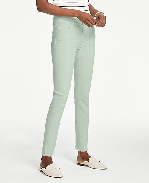 Petite Frayed Performance Stretch Skinny Jeans in Delicate Aqua Wash
