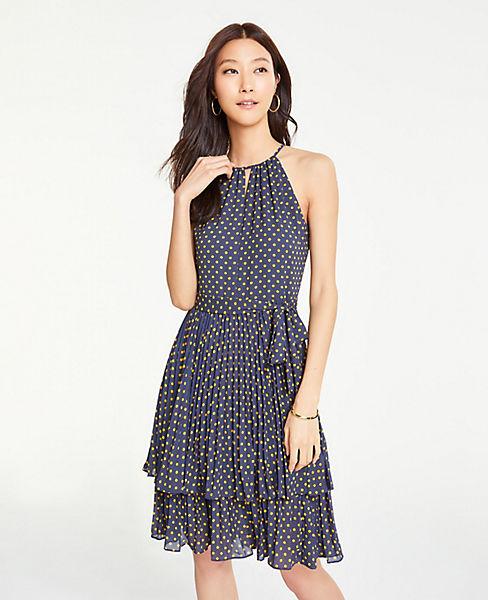 Petite Polka Dot Tiered Halter Dress