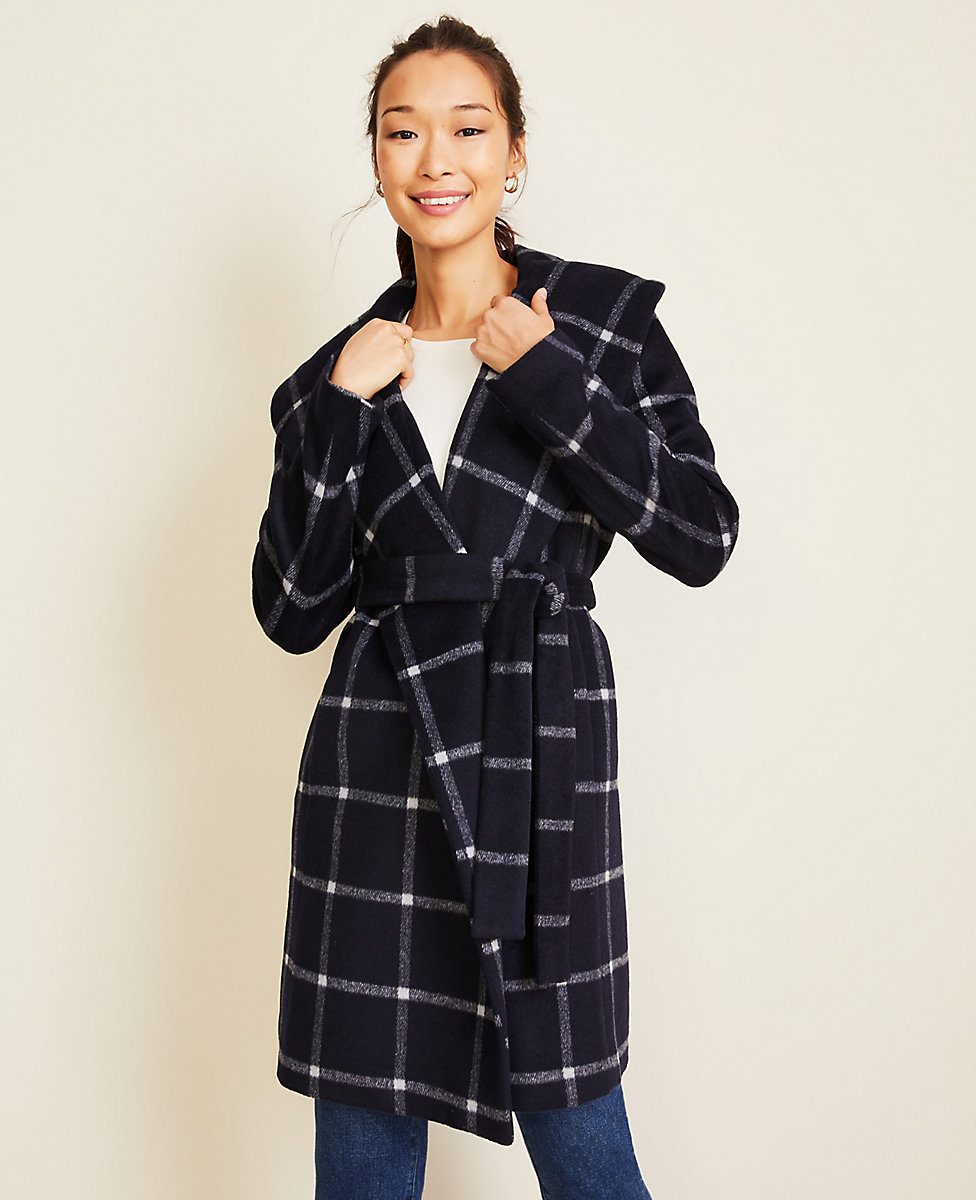 Windowpane Shawl Collar Wrap Coat