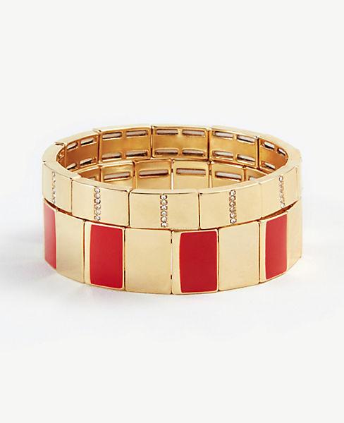 abac5ea99c6 Pave Enamel Stretch Bracelet Set | Ann Taylor