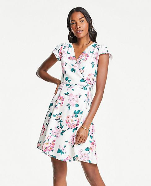 Petite Floral Cluster Flutter Sleeve Wrap Dress
