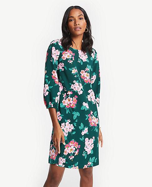 Petite Floral Lantern Sleeve Shift Dress