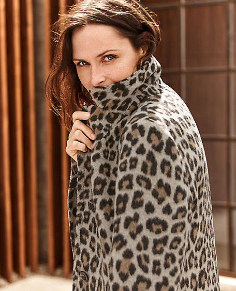 Brushed Leopard Print Chesterfield Coat