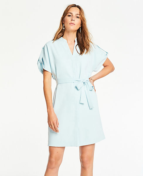 Petite Popover Belted Shirtdress by Ann Taylor