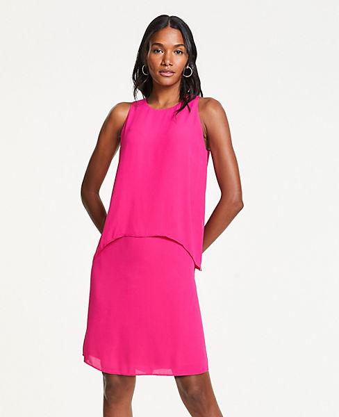 Petite Flowy Overlay Shift Dress