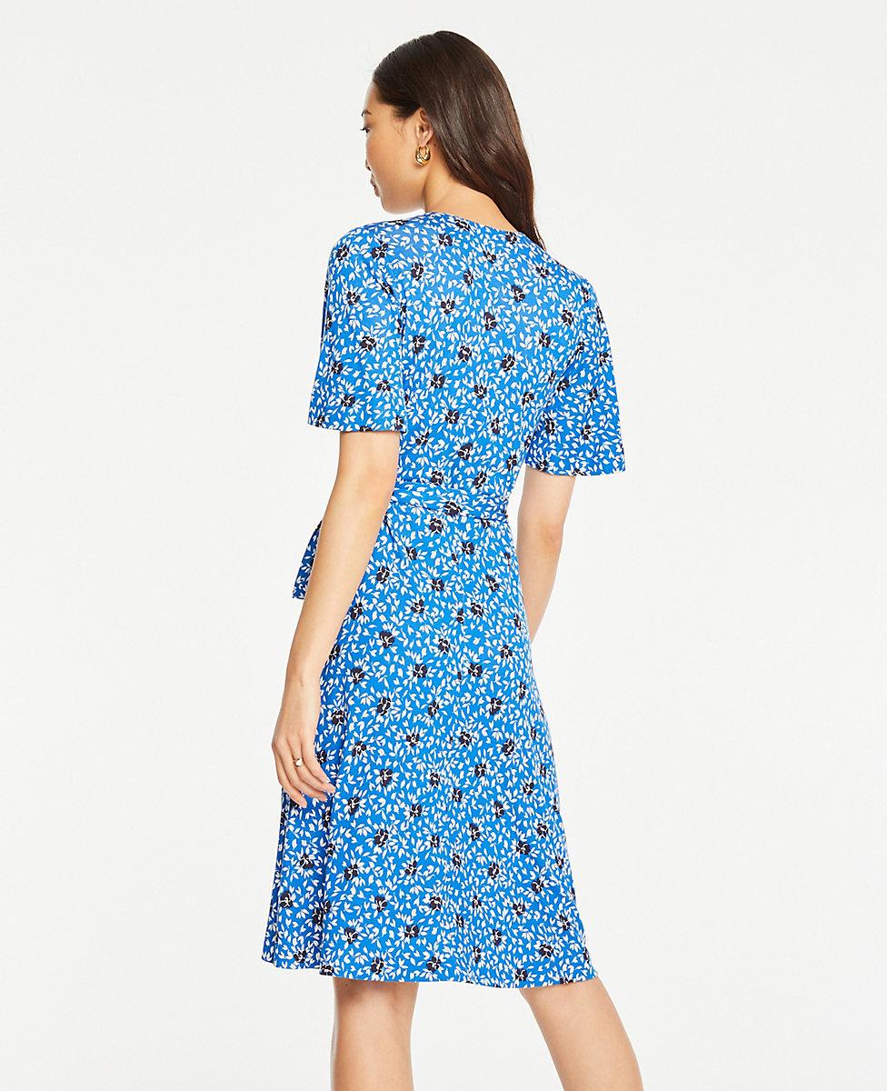 Tall Floral Cluster Flutter Sleeve Wrap Dress | Ann Taylor
