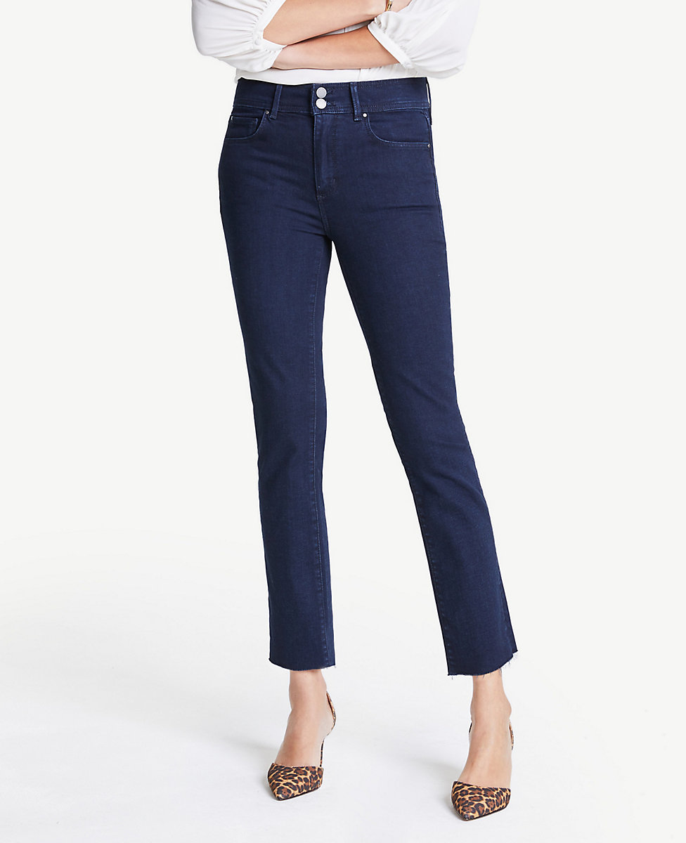 sale online low priced shop for original High Rise Double Shank Straight Ankle Jeans In Evening Sea Wash | Ann Taylor