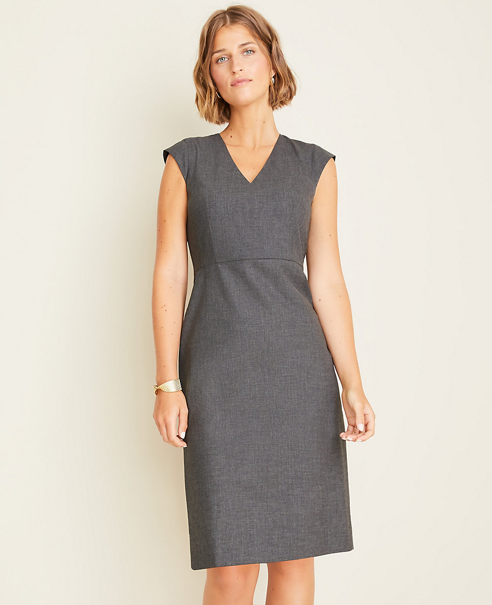 really cheap super cute new concept The Petite V-Neck Sheath Dress in Tropical Wool | Ann Taylor