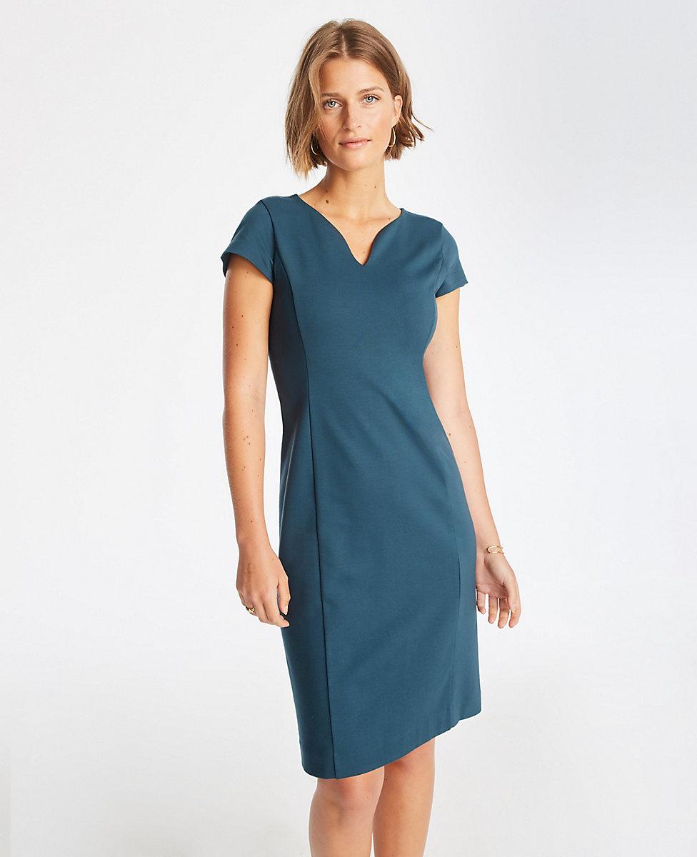 Notched Ponte Sheath Dress Ann Taylor