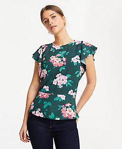 32148e9c6 Floral Flutter Sleeve Banded Hem Top
