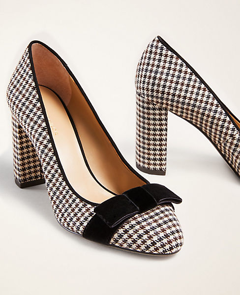 Modern Plaid Kaia Bow Block Heel Pumps