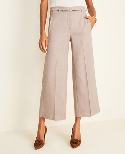 The Belted Wide Leg Marina Pant in Glen Plaid