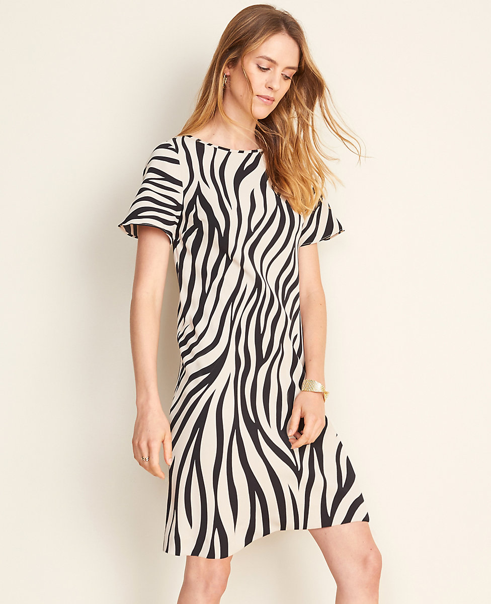 new products the sale of shoes how to buy Zebra Print Flutter Sleeve T-Shirt Dress | Ann Taylor