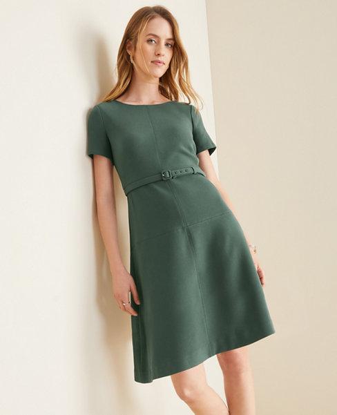 Doubleweave Belted Flare Dress
