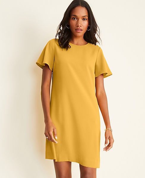 Shoulder Button Flutter Sleeve T-Shirt Dress