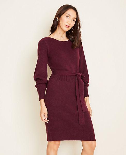 Boatneck Belted Sweater Dress