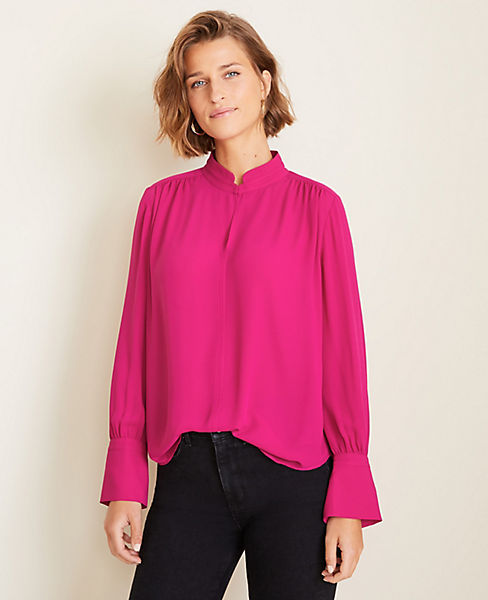 Petite Stand Collar Slit Neck Popover by Ann Taylor