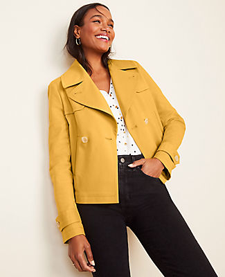 Ann Taylor Short Trench Coat In Yellow Modesens