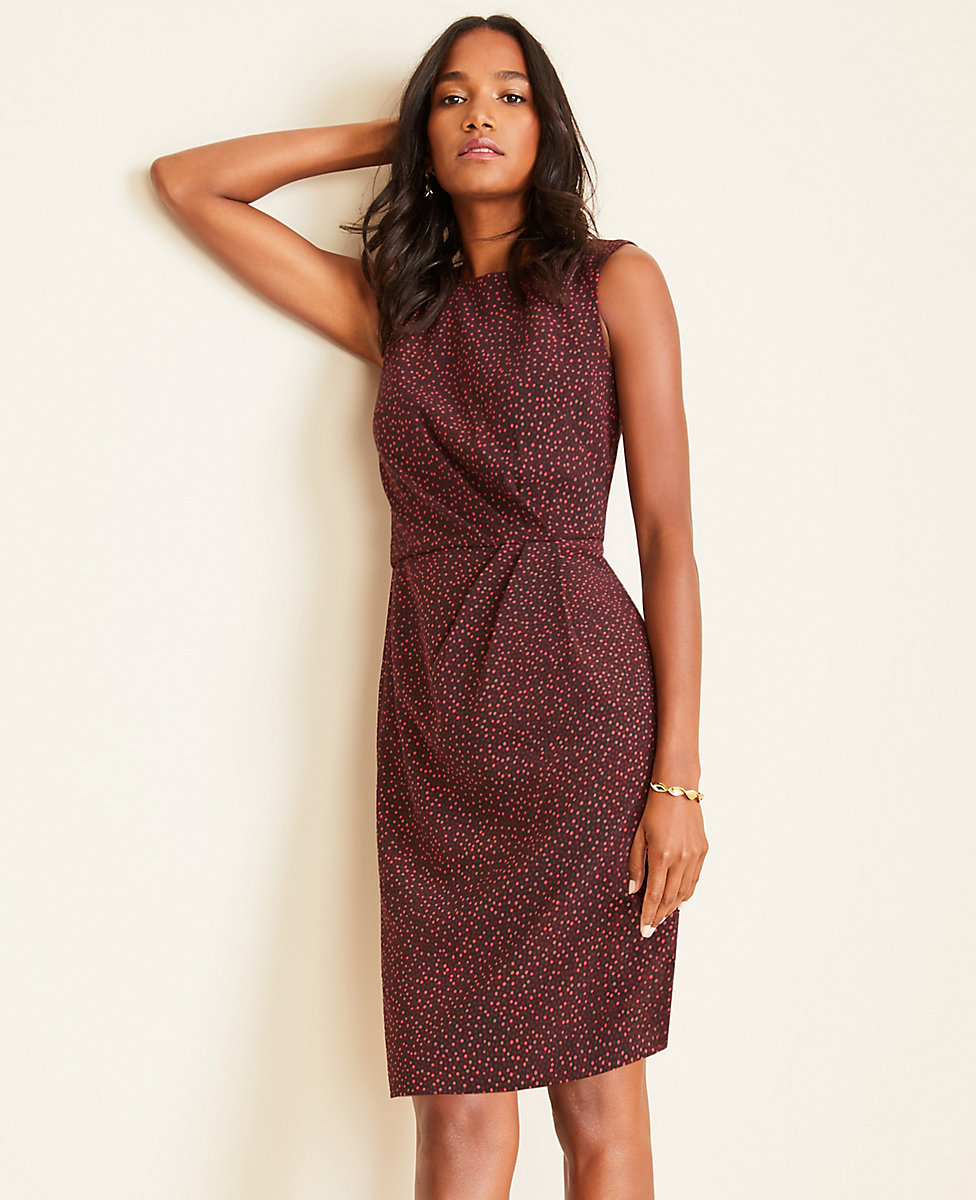 free shipping lowest price best sale Petite Square Dot Side Ruched Sheath Dress | Ann Taylor