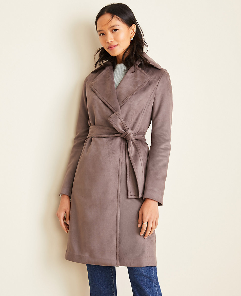 Petite Faux Suede Trench Coat