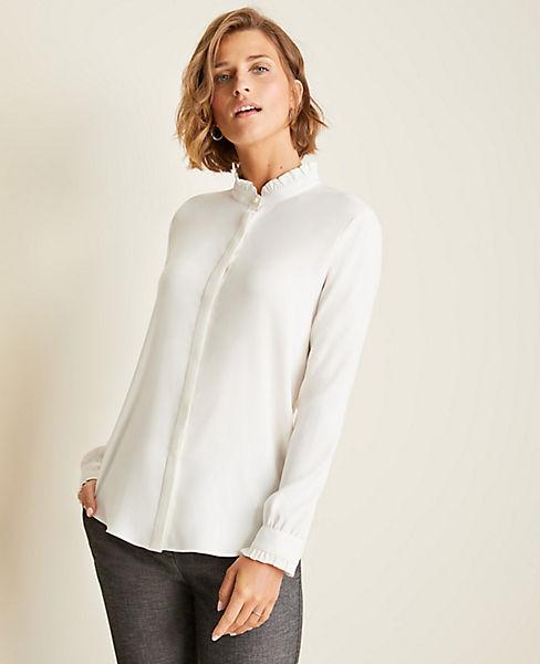 Shoptagr Dash Stripe Shirred Blouse By Ann Taylor