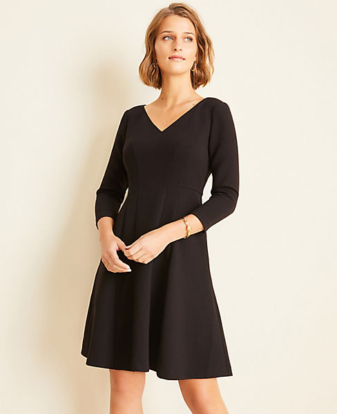 Doubleweave Seamed Flare Dress