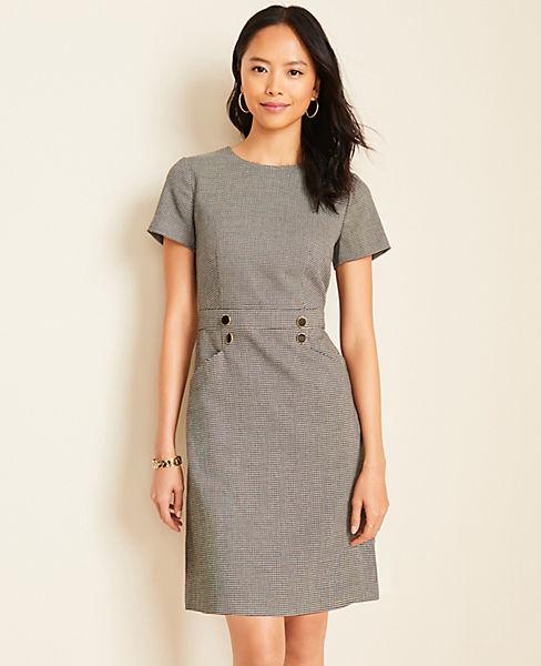 Houndstooth Button A-Line Dress