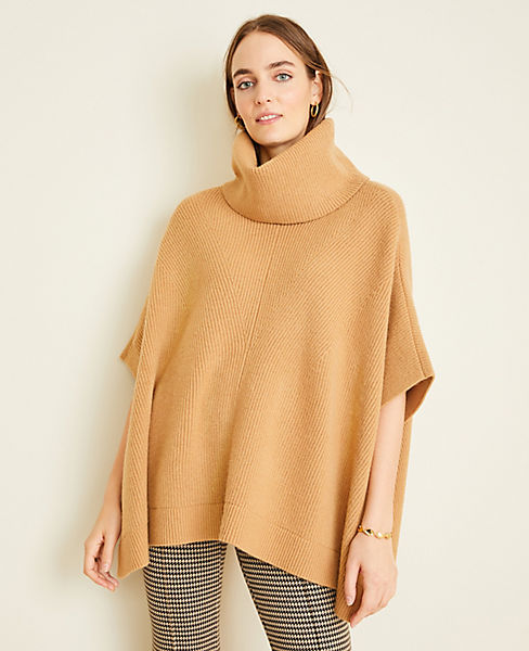 Ribbed Turtleneck Poncho