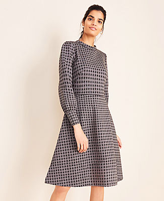 Ann Taylor PLAID MOCK NECK FLARE DRESS
