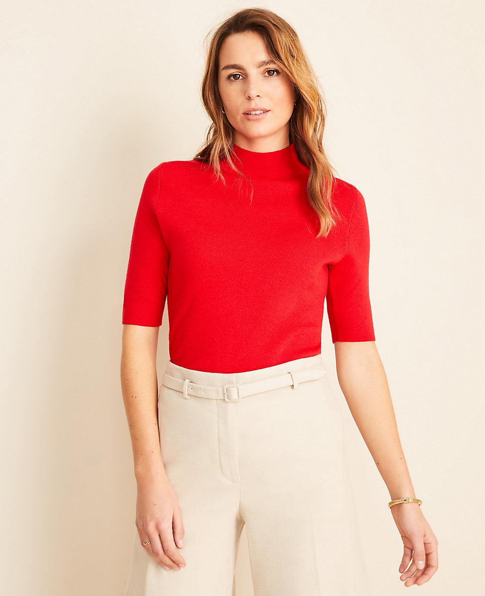 Mock Neck Elbow Sleeve Sweater