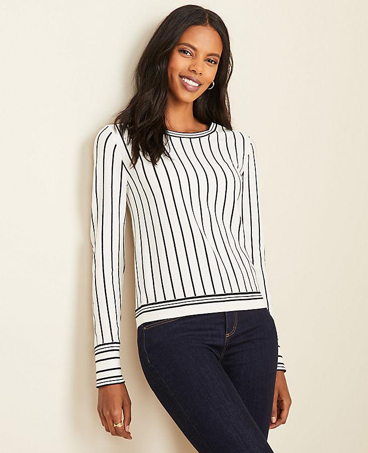 Mixed Stripe Sweater   Ann Taylor