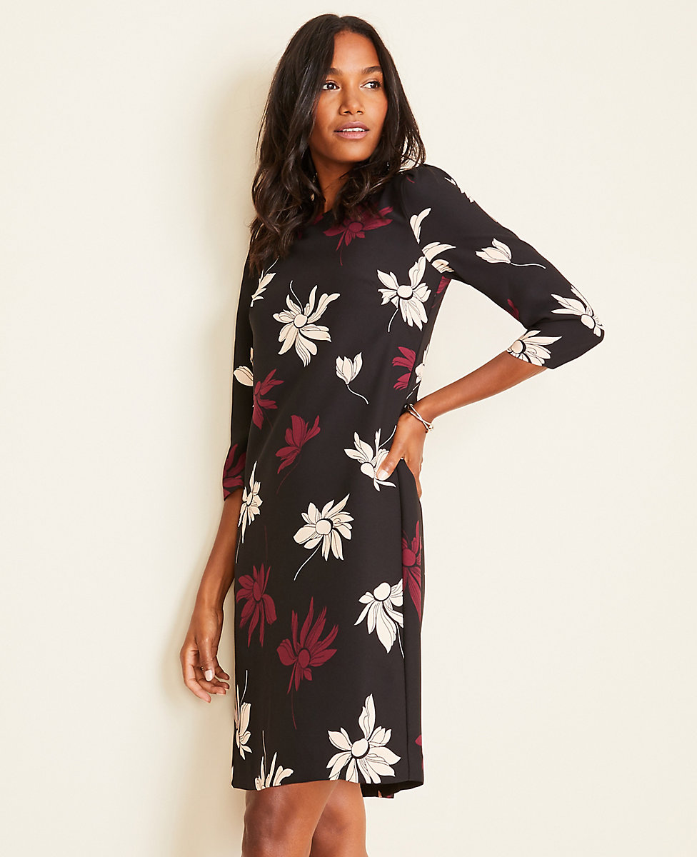 Floral Puff Sleeve Shift Dress