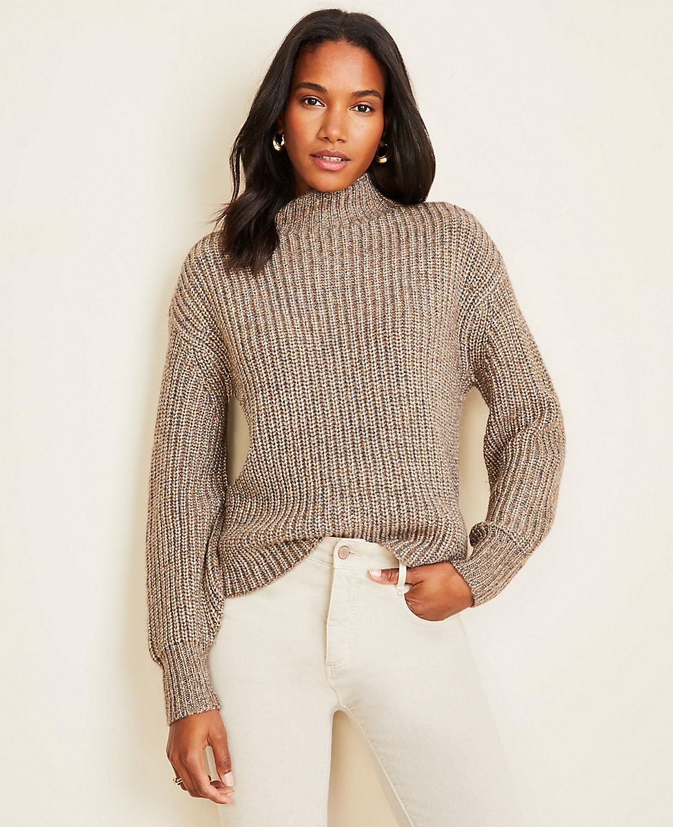 Shimmer Ribbed Mock Neck Sweater