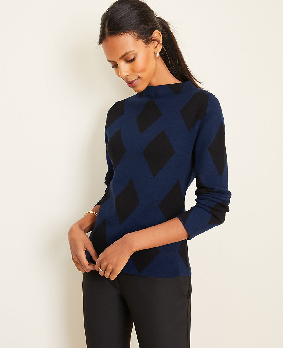 Diamond Jacquard Mock Neck Sweater