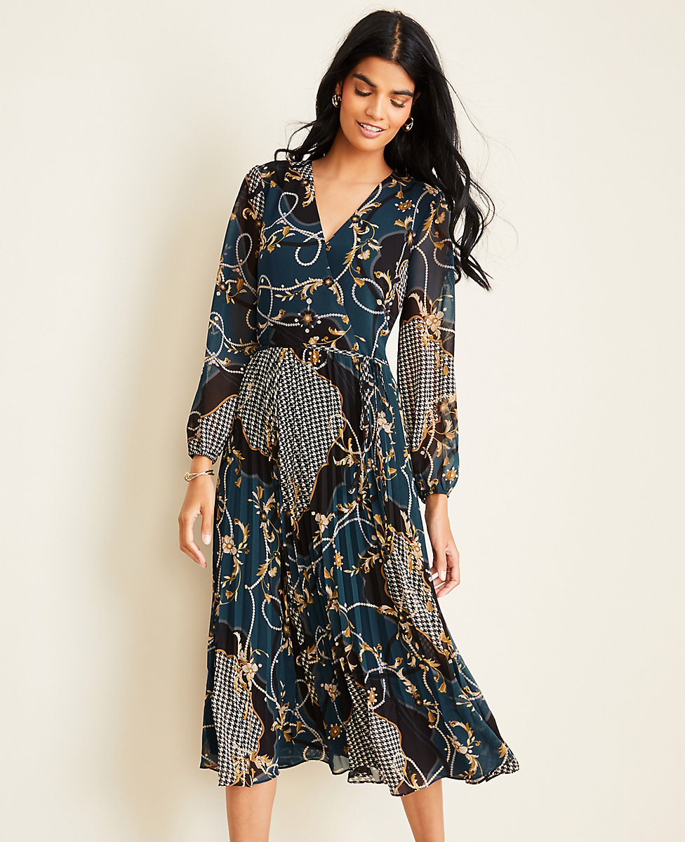 Scroll Pleated Wrap Dress