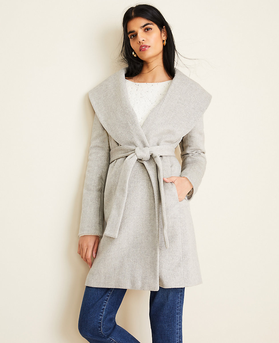 Petite Herringbone Shawl Collar Wrap Coat